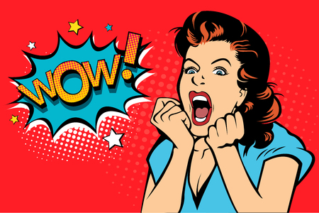 セクシーな大きな目と口と叫んで上がる手を持つブロンドのポップアートの女性を驚かせました。コミックレトロなポップアートスタイルのベクター背景。パーティーの招待状。