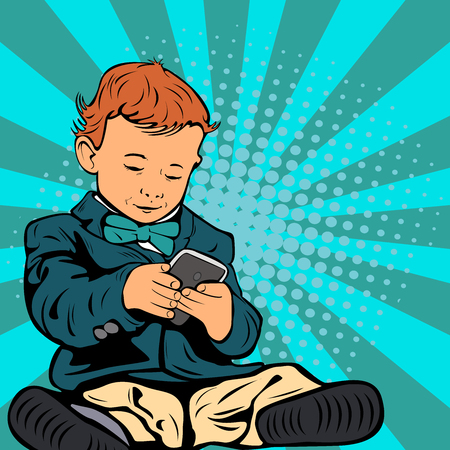 Cute little child is talking on his smartphone sitting in his business suit. Pop art retro illustration. Banque d'images - 109428846