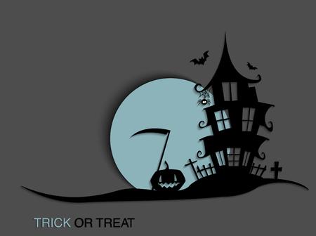 Fondo de luz de luna de Halloween de miedo con casa embrujada. Fondo de fiesta de Halloween para volante, pancarta o póster. Ilustración de fiesta de truco o trato.