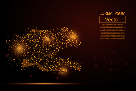Immagine astratta del ghepardo fatta di punti, punti e linee di purè su sfondo scuro con un'iscrizione. Illustrazione di vettore di velocità netta aziendale. Poligonale, triangolo di geometria. Sfondo vettoriale low poly.