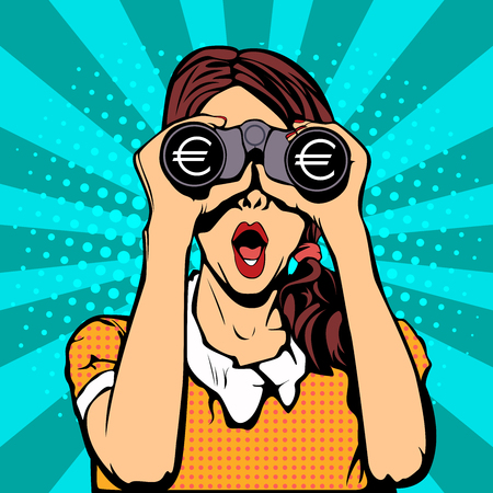 inancial monitoring of the currency. Sexy surprised woman with open mouth. Colorful vector background in pop art retro comic style.