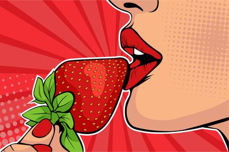 Labios de chicas con fresa. Mujer comiendo alimentos saludables. Fantasía erótica. Ilustración de vector de estilo cómic retro pop art.