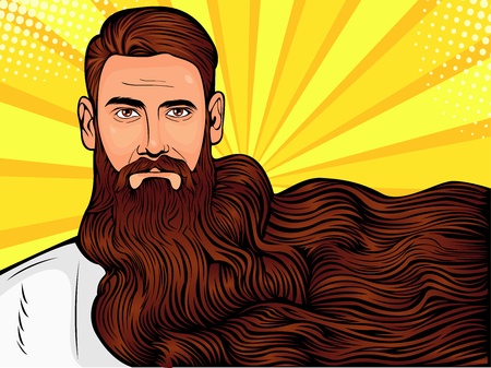 Vector pop art illustration of a brutal bearded man, macho with very long beard over all image