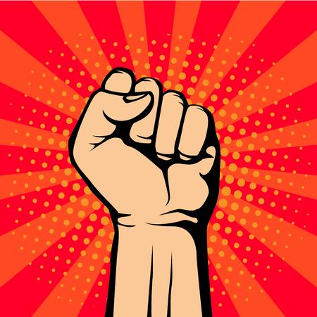 Pop art fist up, a symbol of protest. retro vector illustration