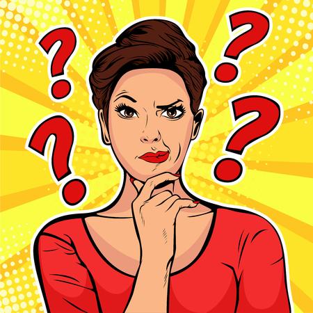 Vrouw sceptische gezichtsuitdrukkingen. Popart retro vectorillustratie in komische stijl