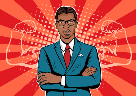 Afro american Man with muscles. Strong Businessman in glasses in comic style. Success concept vector illustration.