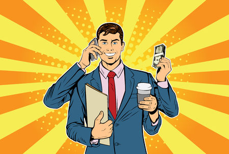 Businessman with many hands business concept of time management and multitasking. Retro style pop art illustration  イラスト・ベクター素材