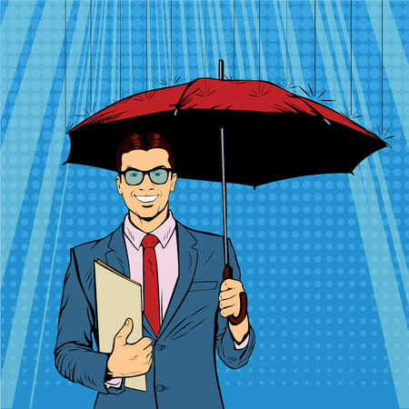A businessman standing holding a umbrella. Saving money for any financial crisis will come. A contemporary style. Pop art retro vector illustration