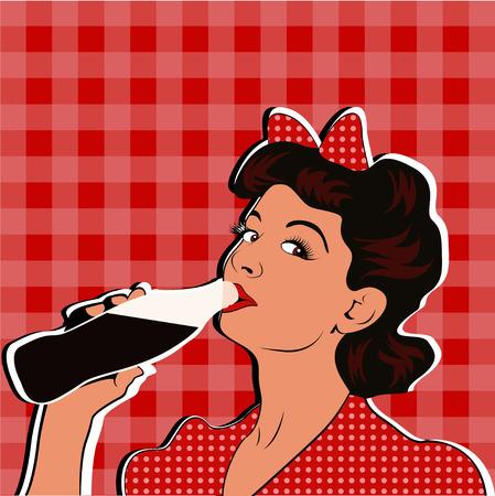 Pin up girl drinking soda pop art retro style.