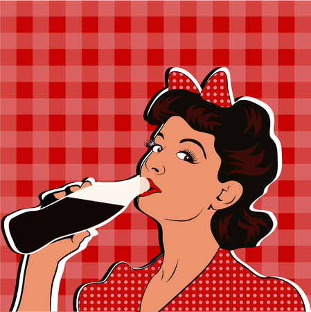 Pin up girl drinking soda pop art retro style.
