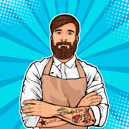 Vector illustration of a comedic art style. Hipster artisan or worker in apron