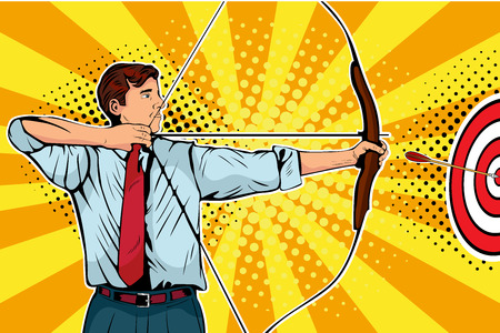 Businessman with bow, arrow and target. Man archer targeting in center. Business goals, success concept. Pop art vector retro illustration.  イラスト・ベクター素材