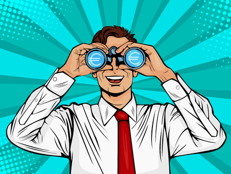 Financial monitoring of currency euro businessman binoculars. Surprised man with open mouth. Colorful vector background in pop art retro comic style.