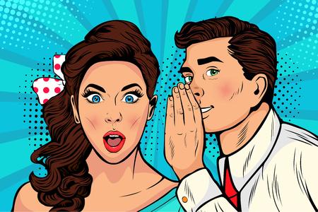 Hombre susurrando chismes o secretos a su novia o esposa. Ilustración colorida en estilo cómic retro pop art.