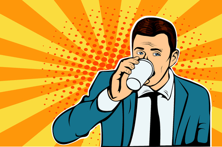 Businessman drinking Cup of coffee looking sideways Ilustracja
