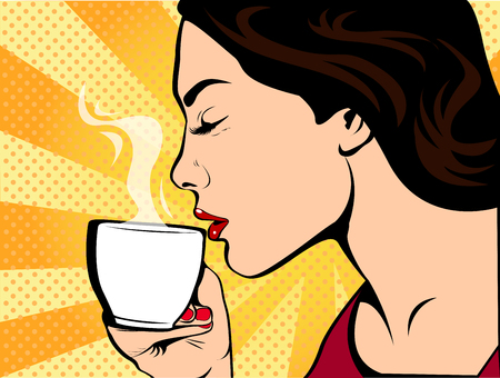 Girl with a cup of coffee. Restaurants and coffee shops. A hot beverage. Courage love and care.