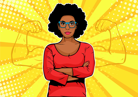 Afro american businesswoman with muscles pop art retro style. Strong Businessman in comic style. Success concept vector illustration.