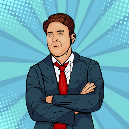 Gloomy caucasian male frowns face, looking upwards, pouting lips, being tired. Man expresses annoyance and dissatisfaction. Pop art retro comic style vector illustration. Internet meme