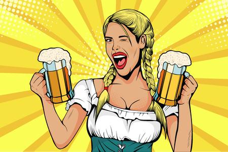 Alemania Chica camarera llevaba vasos de cerveza. Celebración del Oktoberfest. Ilustración de vector de estilo cómic retro pop art