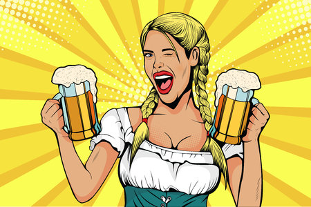 Germany Girl waitress carried beer glasses. Oktoberfest celebration. Vector illustration in pop art retro comic style