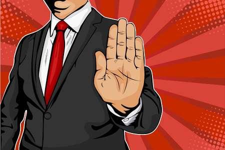 Der Geschäftsmann streckt die Hand aus und befiehlt anzuhalten. Retro-Comicartillustration der Pop-Art.