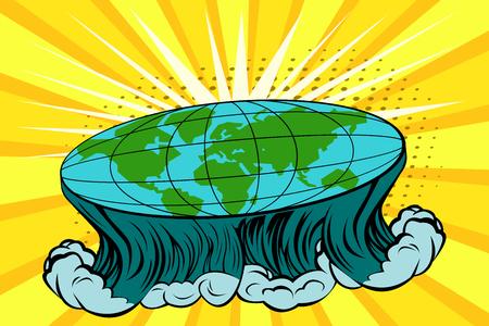 Flache Erde mit Naturlandschaft. Globus in Form einer Scheibe. Kosmologie und Pseudowissenschaften, alte Wissenschaft und Erdbewohner, Verschwörungsthema. Vektor heller Hintergrund im Pop-Art-Retro-Comic-Stil