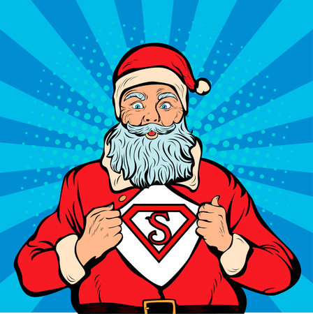Santa Claus super hero, pop art retro vector illustration. Christmas background
