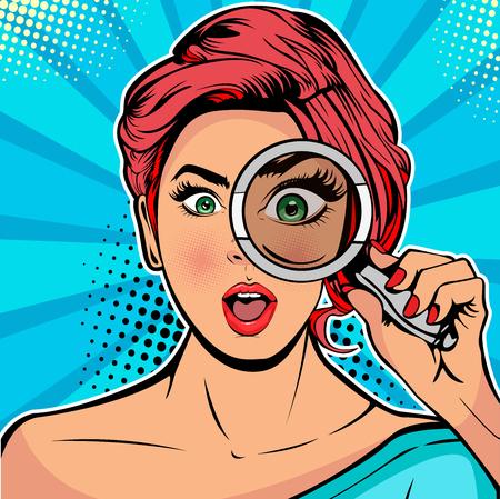 La donna è un detective che guarda attraverso una lente di ingrandimento. Illustrazione vettoriale in stile fumetto retrò pop art Vettoriali
