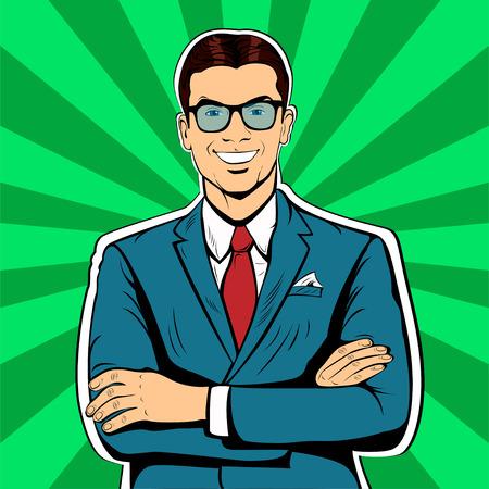 Male businessman pop art retro vintage style