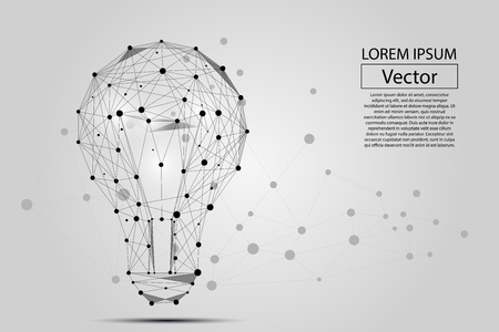 Abstract image of a lamp bulb composition of points, lines, and shapes. Vector business illustration. Space poly, stars and universe