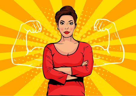 Geschäftsfrau mit Muskeln Pop-Art Retro-Stil. Starker Geschäftsmann im Comicstil. Erfolgskonzeptvektorillustration.