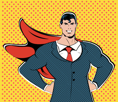 Businessman superhero work flight business concept retro style pop art. A grown man in a business suit. The image of bravery and courage. Retro style pop art. Finance concept