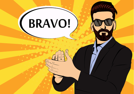 Hipster beard businessman applause bravo concept of success retro style pop art. Businessman in glasses in comic style. Success concept vector illustration. Stock Illustratie