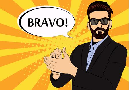 Hipster barba empresario aplauso bravo concepto de éxito estilo retro pop art. Hombre de negocios con gafas en estilo cómic. Ilustración de vector de concepto de éxito.