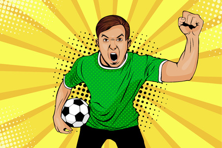 Young happy football fan with open mouth and soccer ball in his hand celebrates win and Goal. Vector colorful illustration in retro comic style. Sport game invitation poster.