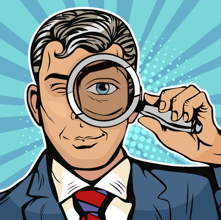 The man is a detective looking through magnifying glass search. Vector illustration in pop art retro comics style Ilustracja