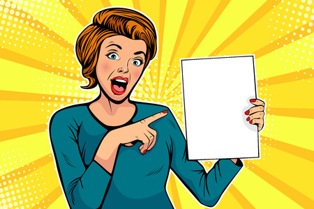 Cartoon woman points to a blank template. Vector illustration in pop art retro comic style. Advertising poster, flyer for sale, special offer, hot news. Ilustracja