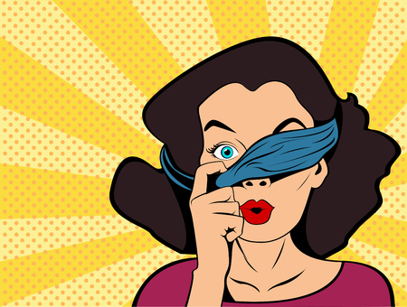 Pop art girl with tied eyes looking above bandage. Prying woman surprised. Vintage advertising poster. Goods and shops