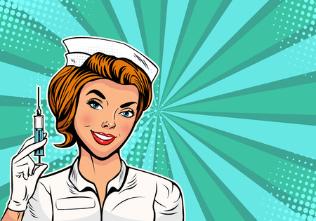 Beautiful nurse with a syringe for vaccination. Medicine and health care. Pop art retro vector illustration Ilustrace