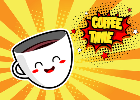 Pop art background with cute coffee mug and speech bubble with coffee time text. Vector colorful hand drawn illustration in retro comic style.
