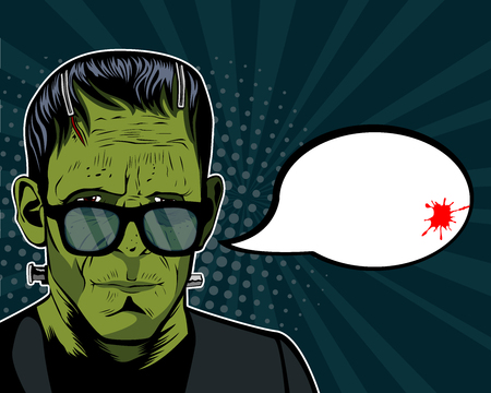 Halloween background vector with Frankenstein head. Vector illustration in retro comic style. Colorful pop art background. Halloween party invitation.