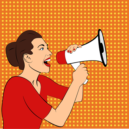 Pop art girl with megaphone. Woman with loudspeaker.Girl announcing discount or sale.Shopping time.Protest, meeting, feminism, woman rights, woman protest, girl power. Pop art background, Special offer Ilustracja