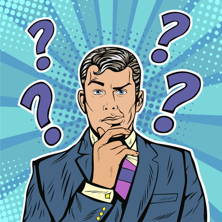 Businessman skeptical facial expressions face with question marks on his head. Pop art retro vector illustration in comic style
