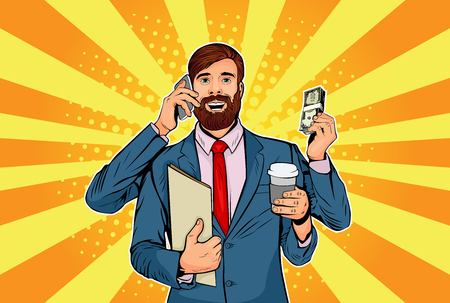 Hipster businessman with a beard and many hands business concept of time management and multitasking. Retro style pop art vector illustration