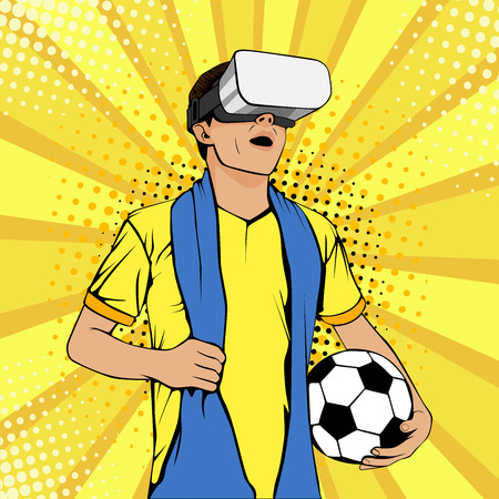 Football fan in virtual reality glasses with open mouth and ball. Vector colorful illustration in retro comic style. Watching sport game. Ilustracja