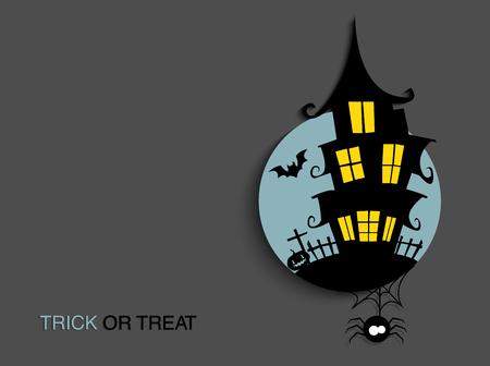 Fond de clair de lune effrayant Halloween avec maison hantée. Fond de fête d'Halloween pour flyer, bannière ou affiche. Tromper ou traiter l'illustration de la fête. Vecteurs