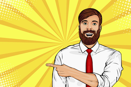 Bearded hipster man with shocked facial expression. Surprised male showing by finger. Vector illustration in pop art in retro comic style Ilustracja