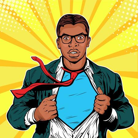 Hombre de negocios afroamericano superhéroe pop art retro ilustración vectorial. Hombre de negocios fuerte en vasos en estilo cómic. Concepto de éxito. Un hombre adulto con traje de negocios.