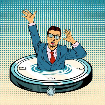 Hombre de negocios que se hunde en el tiempo. Exceso de horas extraordinarias de negocios y trabajo. Falta de tiempo libre. Elemento de reloj de vector con lago de agua, hombre de negocios desesperado ahogándose en el océano de tiempo. Ilustración de vector retro pop art.
