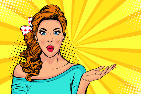 Wow pop art face of surprised fashion girl open mouth. Beautiful young woman model pointing hand, advertising gesture. Vector bright background in pop art retro comic style.